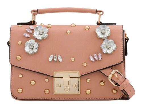 que superior Bolso reconocer Studs Leather rosa Jewel Beige mujer no Faux hay hombro Nuevo para Bolso de negro Detalle Asa gris wqT4pnYx