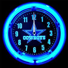 "DALLAS COWBOYS LOGO 11"" BLUE NEON CLOCK  - NEW !!"