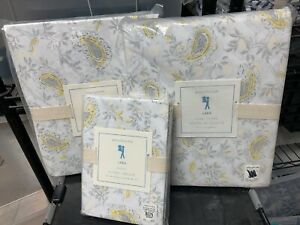 Pottery Barn Kids Lara Paisley Reversible Bed Duvet Cover Twin Sham Yellow Gray