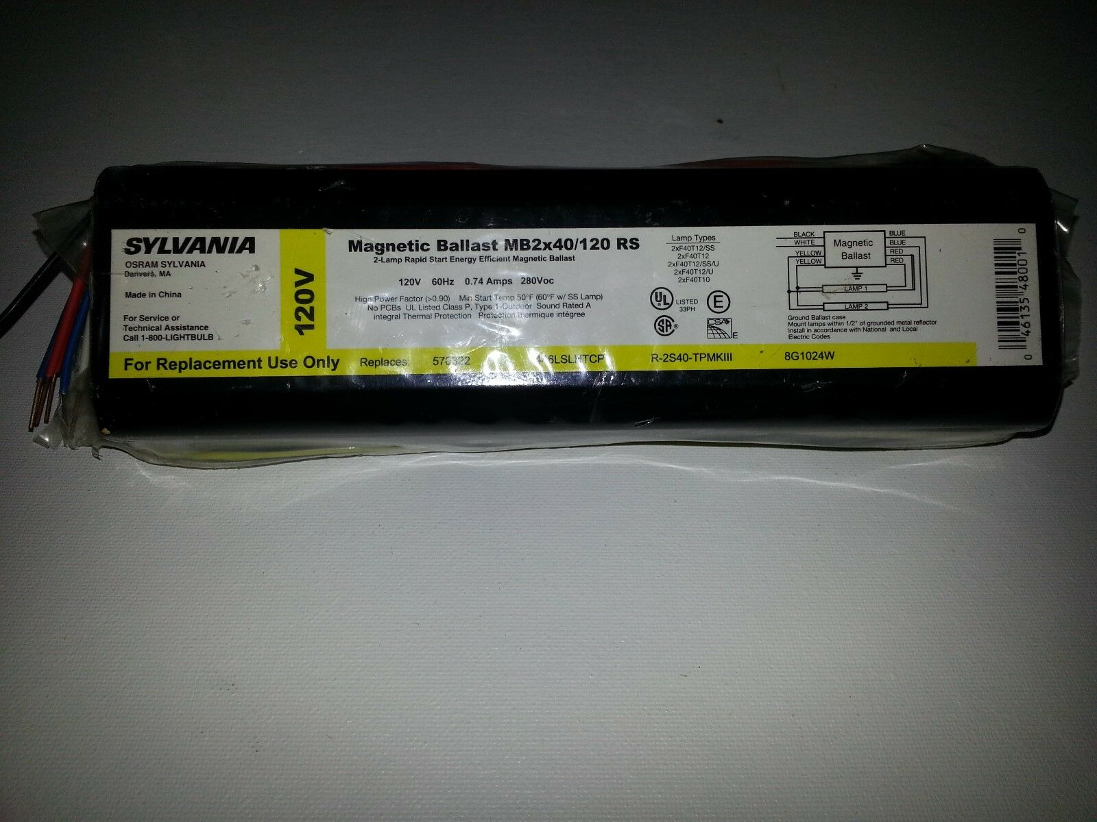 ***NEW** UNIVERSAL LIGHTING 487-SLH-TC-P  277 VOLT 2-LAMP HIGH OUTPUT BALLAST