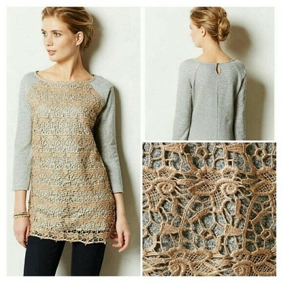 NEW Anthropologie Le Pompe Sweatshirt By By By Dolan Lace Overlay 5932cc