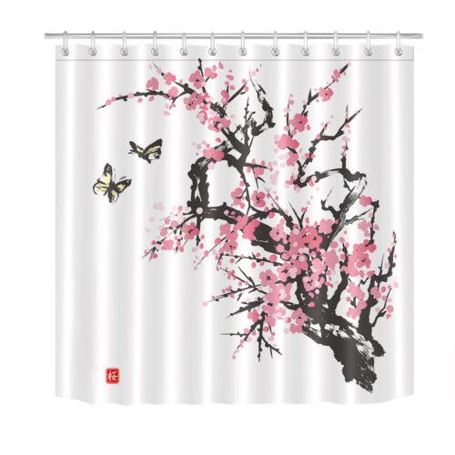 Japanese Sumi-e Style Spring Sakura Cherry Blossom Butterfly Shower Curtain Set
