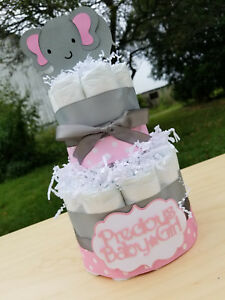Image Is Loading 2 Tier Diaper Cake Pink Elephant Theme