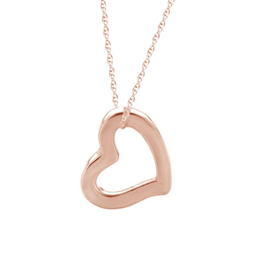 """14K Rose Gold Open Heart Pendant on 18/"""" Chain Necklace Valentine/'s Day Gift"""