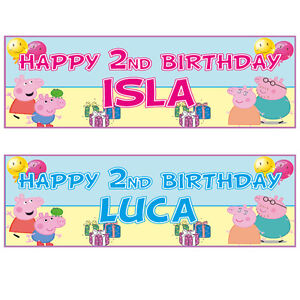 2 Personalised 3ft X 1ft Peppa Pig Birthday Banners Any