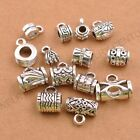 10/30 Pcs Tibetan Silver Tube Charm Connector Bail Jewelry Findings