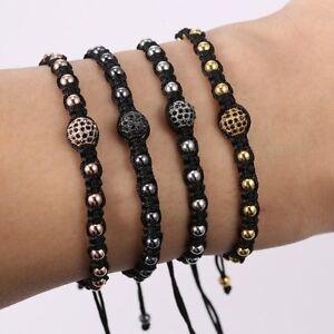New-Women-Mens-18K-Braided-Macrame-Leather-Anil-Bracelet-Bangle-Beads-Black-Gift