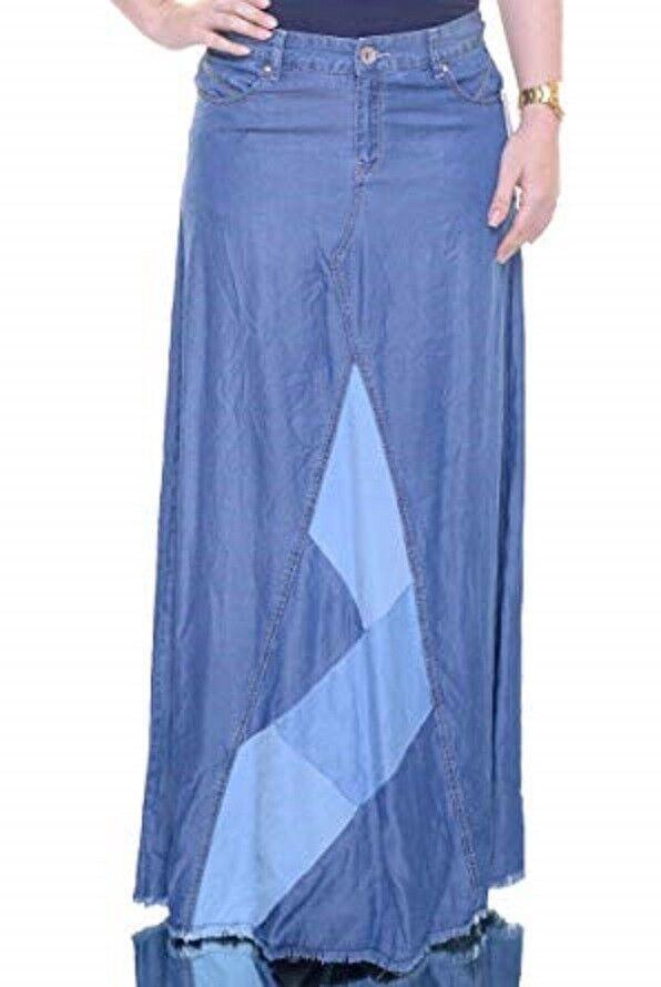 INC International Concepts Patchwork  Denim Maxi Skirt 10