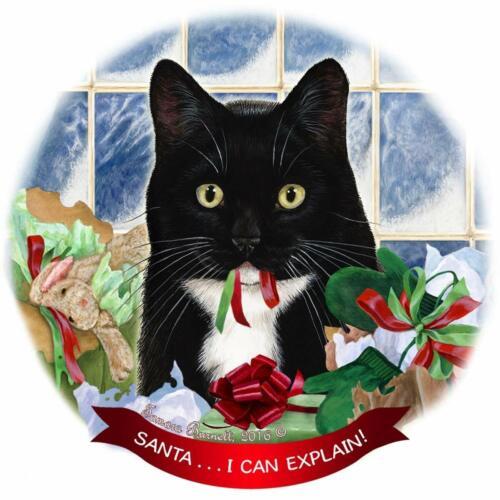 I Can Explain!/' Tuxedo Cat Porcelain Hanging Ornament Pet Gift /'Santa.