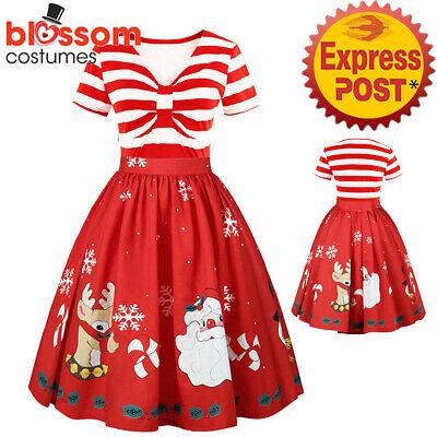 K950 Santa Christmas Vintage Swing Flare Dress Retro 50s Xmas Rockabilly Pin Up