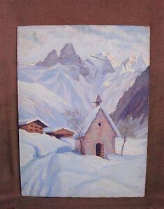 Interessante-peinture-a-l-039-huile-Paysage-des-Alpes-signee-W-BOOG