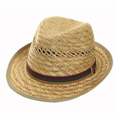 Mens / Ladies Quality Straw Trilby Hat Summer Sun Hat with Bound edge and Band