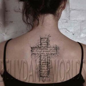 Torn Ripped Skin 3d Christian Cross Spiritual Temporary Tattoo Back