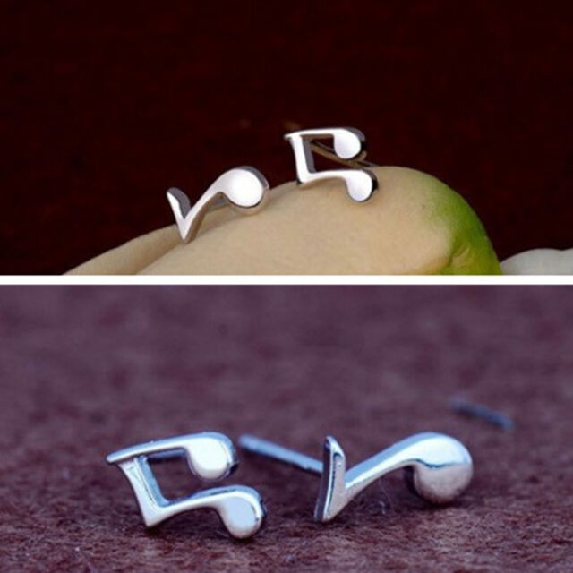 Cute Tiny Women Lady 925 Sterling Silver Musical Note Ear Stud Earrings Gift