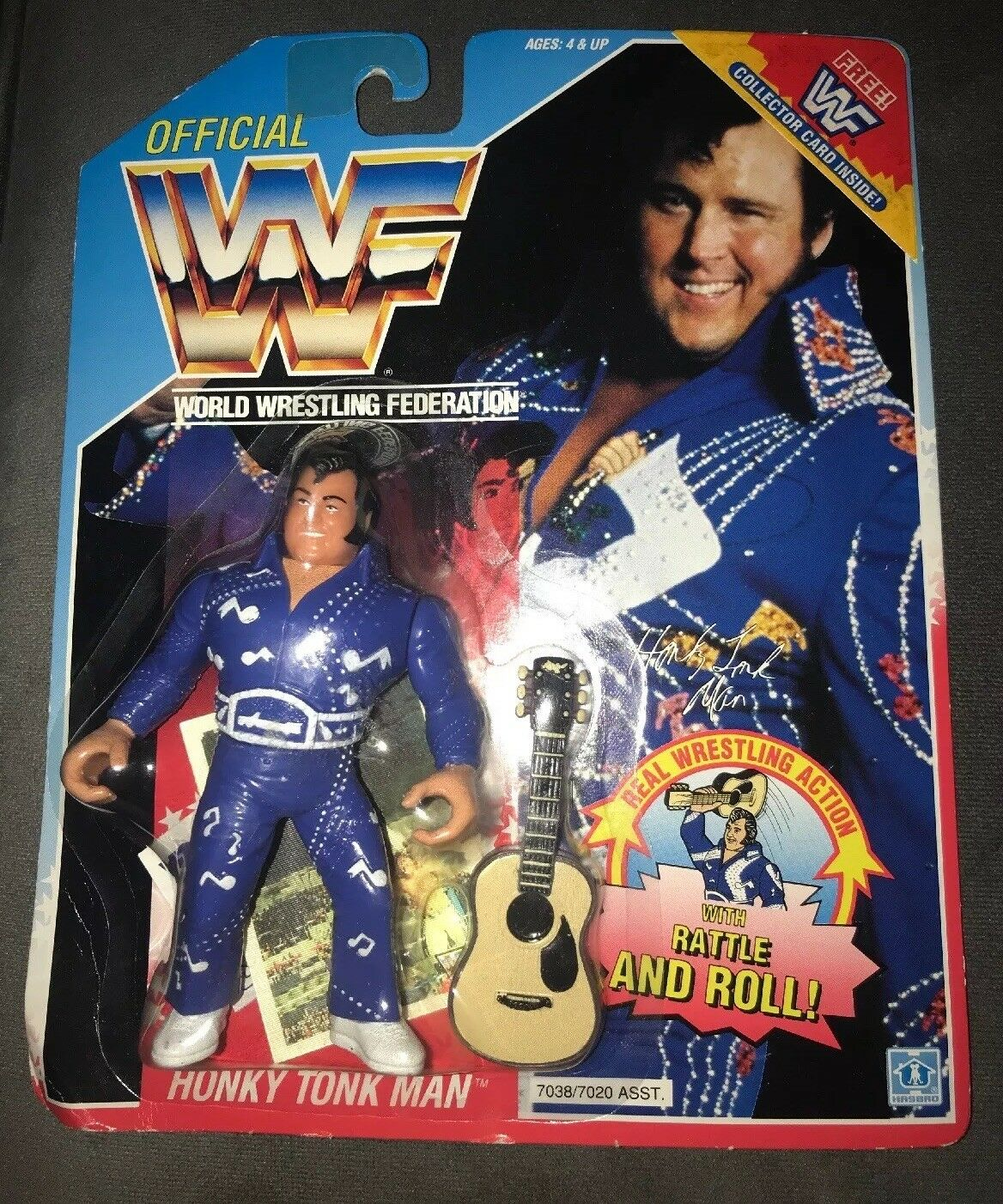 WWF Hasbro bluee Card HONKY TONK MAN Very Rare