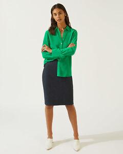Jigsaw Herringbone Donegal Pencil Skirt Womens New Blue Navy