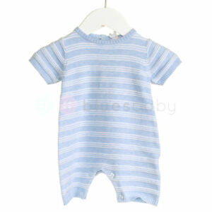 d329b8bf177 Baby Boy Blue White Knitted Stripe Romper Traditional Spanish Outfit ...