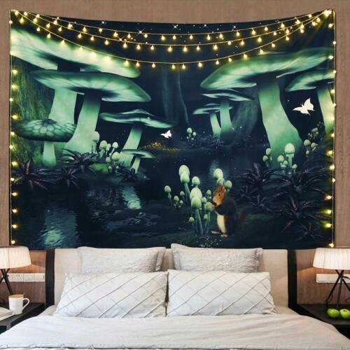 Wall Tapestry Mandala Polyester Night Green Mushroom Printed Front For Bedroom