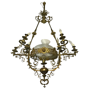 1 Large Vintage 1920's French Rococo Brass Chandelier Lighting 7 Branch Glass Dome