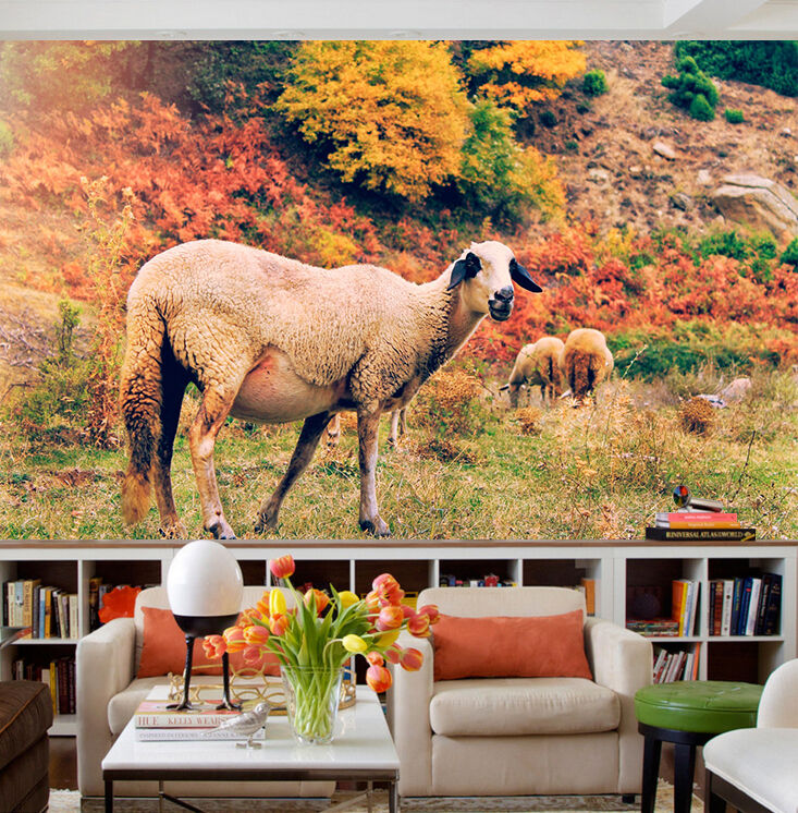 3D grassland goat Wall Paper Print Decal Wall Deco Indoor wall Mural