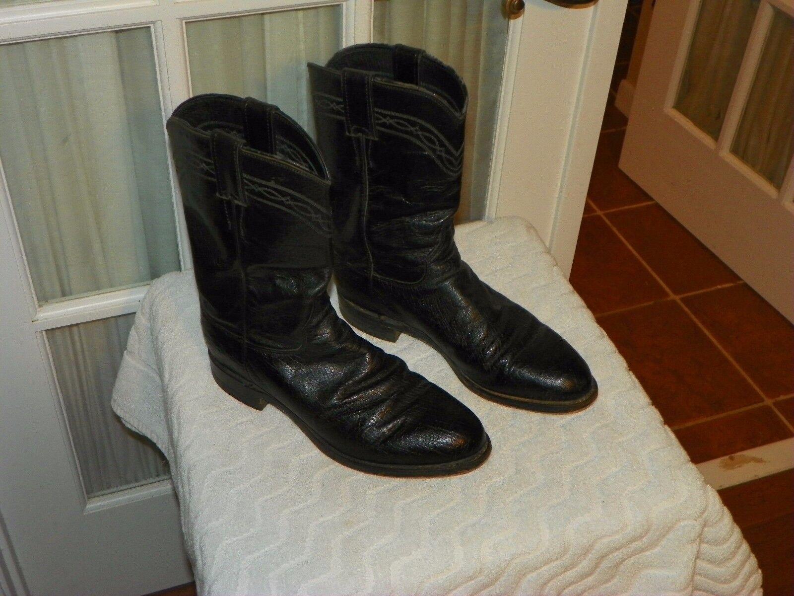Mens 7.5 D Negro JUSTIN Usa J90096 exótico Suave Avestruz Roper Occidental botas