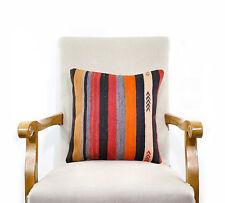 Colorful Kilim Pillow Striped Turkish Boho Chic Interior Decor Sofa Floor Throw