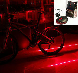 5-LED-2-Laser-Bicycle-Cycle-Bike-Red-Beam-Rear-Lights-Back-Tail-Lamp-amp-Battery