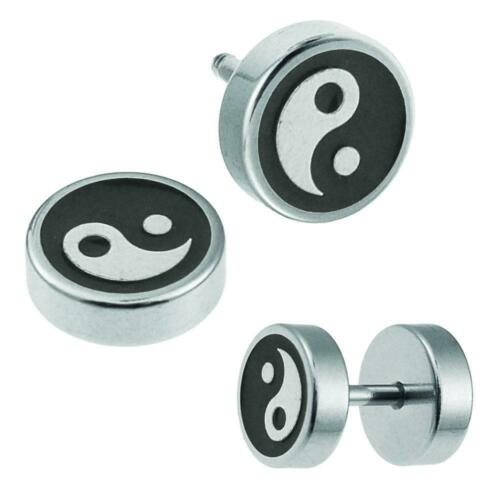 Fake Plug piercing acero inoxidable negro plata Yin Yang 8 mm redondo pendientes