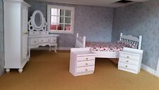 Dolls House Miniatures 1/12th Scale White Bedroom Set DF1171 NEW