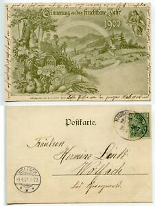 GERMANY-1901-Reminder-of-1900-post-card-pmk-HAUSACH-SCHILTACH-BAHNPOST-oval-d-s