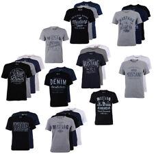 Mustang Herren 4er Pack T-Shirt Frontprint Rundhals Kurz Blau Schwarz Grau Weiß