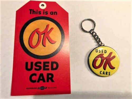 OK Used Cars Key Chain and Hang Tag 1957 Chevy Corvette OK Cars camero GM