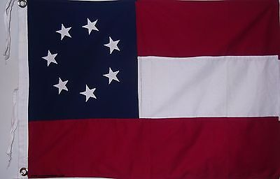 VINTAGE STYLE SEWN COTTON 2 X 3'  FLAG - 1ST civil war - FIRST NATIONAL - DIXIE