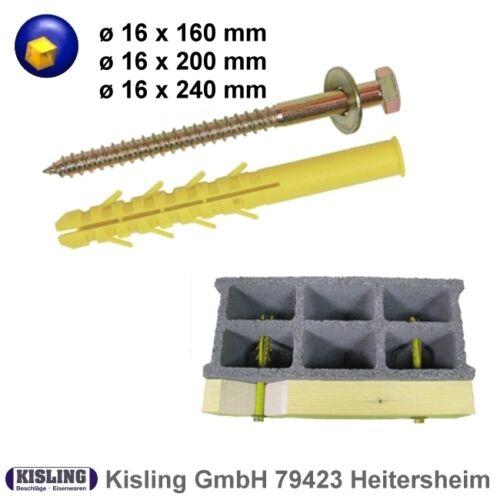 Zimmerei Dübel ø 16 mm Länge 160//200//240 mm mit Schraube und Scheibe zur Auswahl