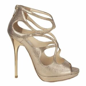 Details about 55198 auth JIMMY CHOO gold leather STRAPPY Platform Sandals Shoes 36