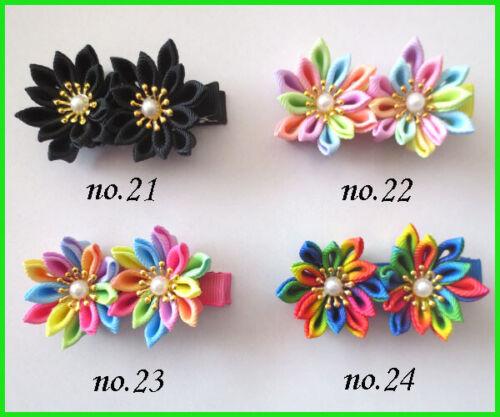 """500 BLESSING Women Girl Fashion Gerbera Pearl Grosgrain 3"""" Hair Clip Rainbow Bow"""