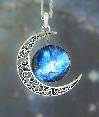 Moon Galaxy Nebula Space Antique Silver Pendant Necklace Friendship BFF Necklace