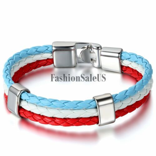 Unisex Handmade Leather Braided World Cup Fans Bracelet National Flags Color New
