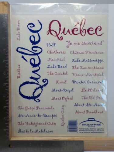 STATE OF MINE QUEBEC CANADA CITIES EVENTS LANDMARKS STICKERS A11429