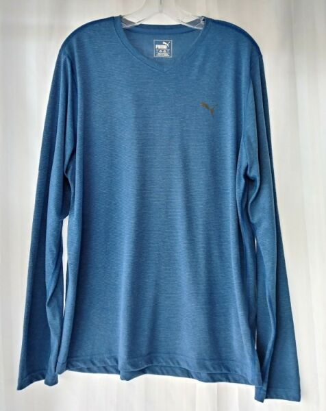 1ee70344c8e MEN'S LS PUMA DRY CELL V-NECK T-SHIRT BLUE STATIC SZ L [142669560322 ...