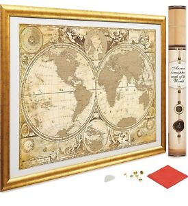 Gold World Map Poster.17x24 Scratch Off Gold World Map Poster Us States Outlined Travel
