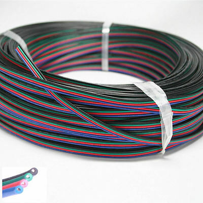 1/5/10/100M 4 pin Extension Cable Wire Connector For 3528 5050 RGB LED Strip UK
