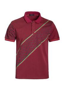 New-Mens-Short-Sleeve-Polo-Shirt-Slim-Fit-Stretch-Burgundy-Red-Green-Stripes