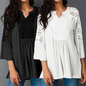 Women-Flare-Bell-Sleeve-Plunge-Top-Tee-Shirt-Beach-Holiday-Plus-Size-Lace-Blouse