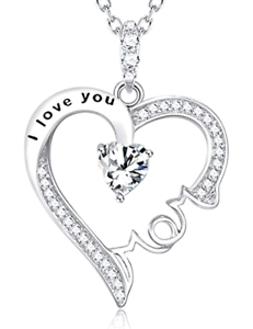 Fine Jewelry Mothers Day Gifts I Love You Mom Necklace Sterling Silver Pendant