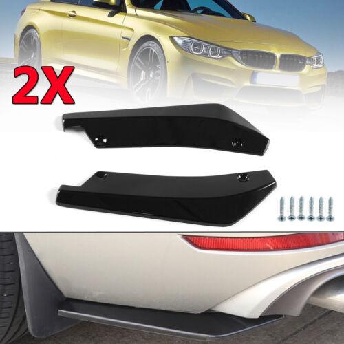 2pcs Glossy ABS Black Anti-Scratch Car Rear Bumper Lip Diffuser Splitter Canard