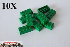 10x Lego 3001 Baustein Basisstein 2x4 grün gebraucht 3001 4106356