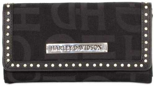 Harley-Davidson Womens Black H-D Logo Jacquard Clutch Wallet HD3480J-BLACK