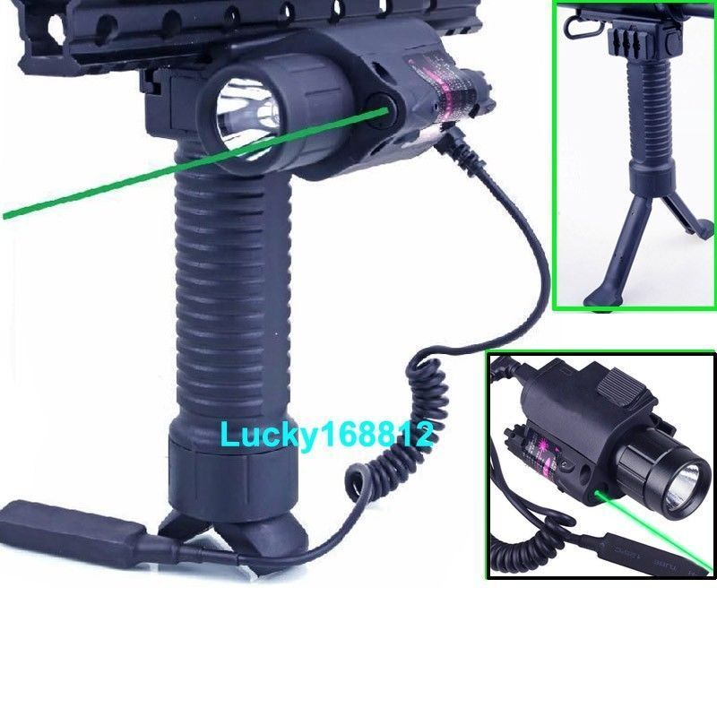 Rifle Foregrip Bipod + Led Flashlight & Green Laser Sight + The Remote Switch
