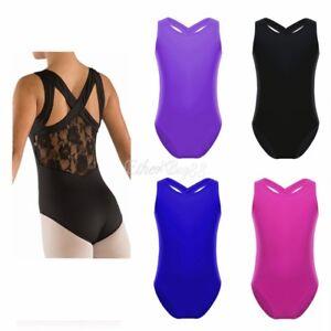 Girl-Leotard-Ballet-Dance-Dress-Kid-Gymnastic-Bodysuit-Unitards-Tank-Lace-Top